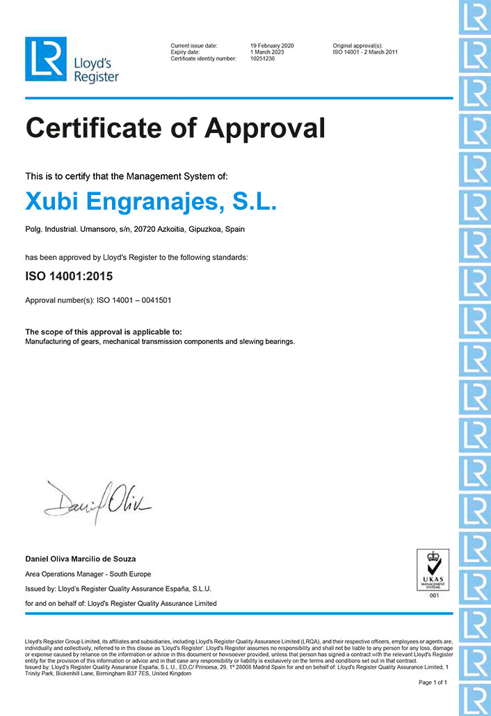 ISO 14001: 2015 environmental no. cert. SGI