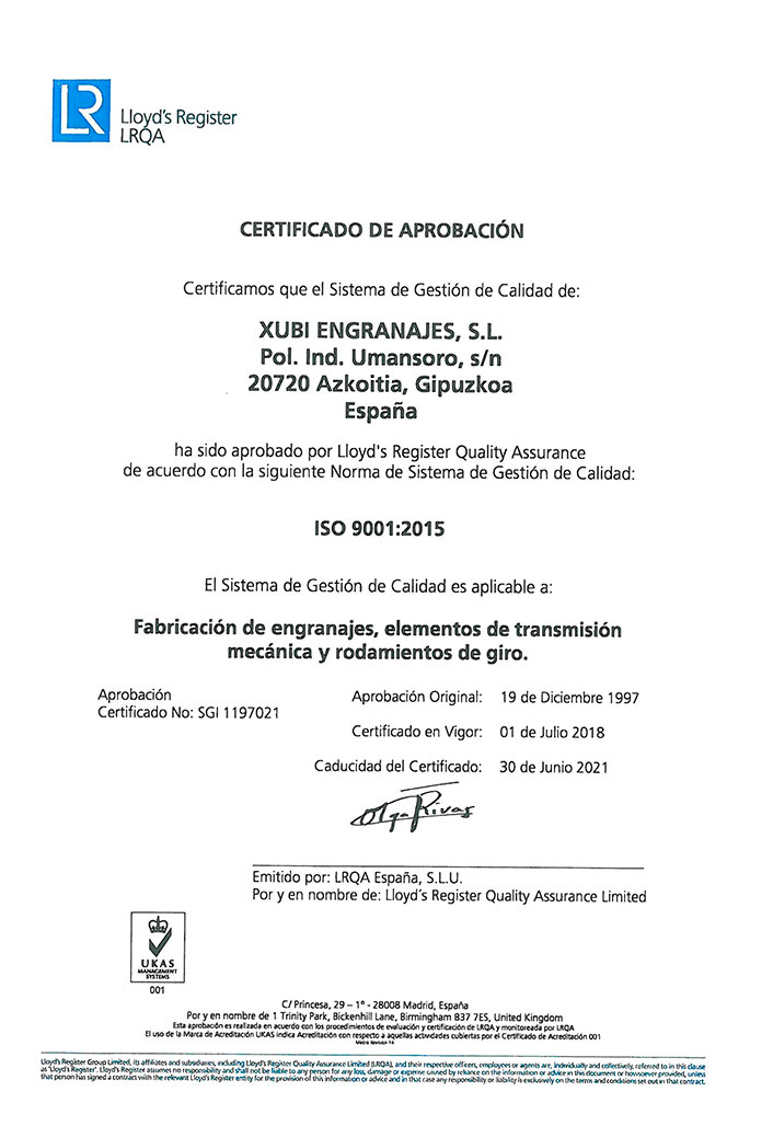 ISO 9001: 2008 quality no. cert. SGI 1197021
